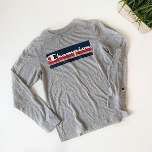 Champion Long Sleeve Shirt Grey Crew Size Large